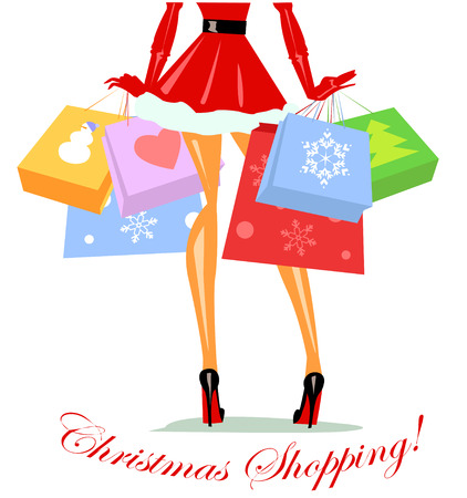 Girl dressed as Mrs Claus carrying shopping bags, Christmas shopping Vectores