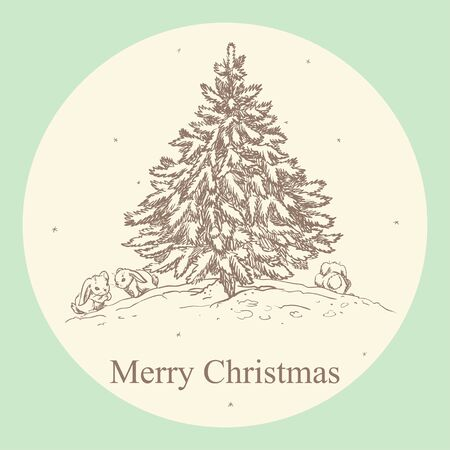 vintage card: Vintage Christmas card with hand drawn Christmas tree