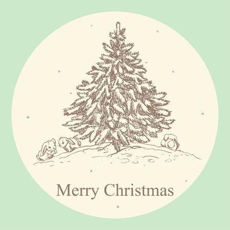 christmas tree illustration: Vintage Christmas card with hand drawn Christmas tree