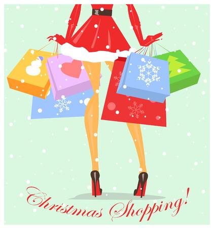 mujer en el supermercado: Muchacha vestida como señora Claus con bolsas de compras, compras de Navidad Vectores