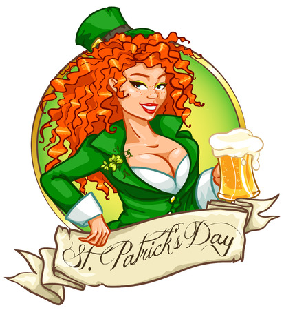red head girl: Beautiful leprechaun girl with beer, St. Patricks Day label design with space for text, isolated Illustration
