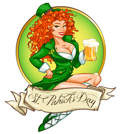 st patricks day: Beautiful leprechaun girl with beer, St. Patricks Day label design with space for text, isolated Illustration