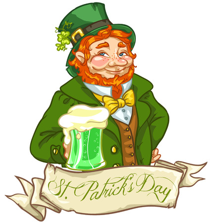 irish beer label: Leprechaun, Irish man with beer, St. Patricks Day label design with space for text, isolated