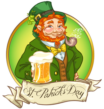 hombre tomando cerveza: Leprechaun, hombre irlandés con cerveza, diseño de la etiqueta Día de San Patricio con espacio para texto, aislado Vectores