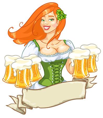octoberfest: Hermosa chica duende con cerveza, diseño de la etiqueta Día de San Patricio con espacio para texto, aislado