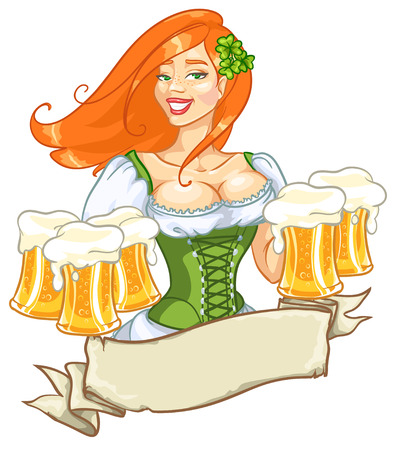 Beautiful leprechaun girl with beer, St. Patricks Day label design with space for text, isolated Illustration