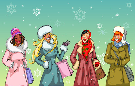 women talking: Happy women talking to each other, Christmas shopping vector illustration.