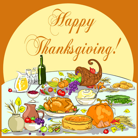 festive: Thanksgiving background with space for text. Card design Illustration