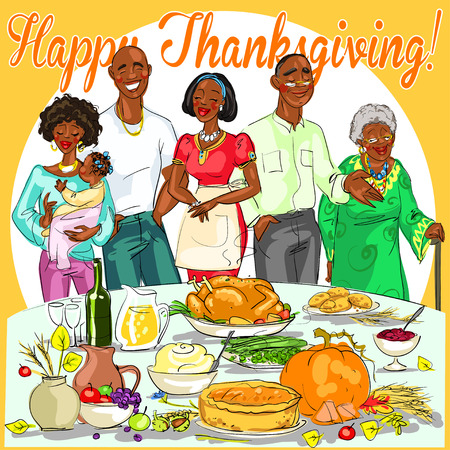 Happy family célébrer Thanksgiving Day. Design de la carte Banque d'images - 44411908
