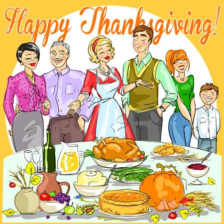 thanksgiving family: Happy family celebrating Thanksgiving Day. Card design