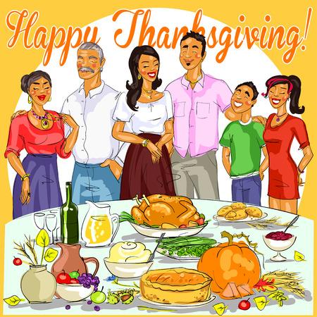 Glückliche Familie feiert Thanksgiving Day. Kartendesign Standard-Bild - 44411910