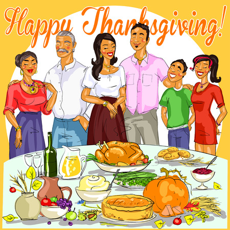 dinner: Happy family celebrating Thanksgiving Day. Card design