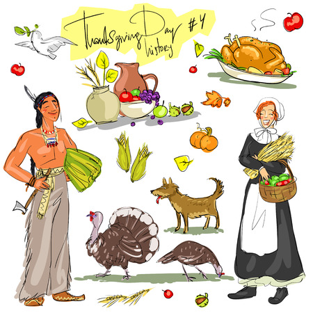 paloma caricatura: día de Acción de Gracias dibujado a mano colección. 4 conjunto histórico, aislado Vectores