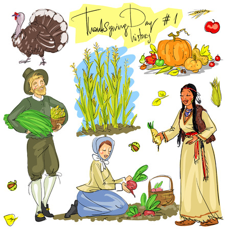 indian culture: Thanksgiving day hand drawn collection. Historical set 1, isolated Illustration