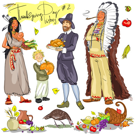 american history: Thanksgiving day hand drawn collection. Historical set 2, isolated Illustration