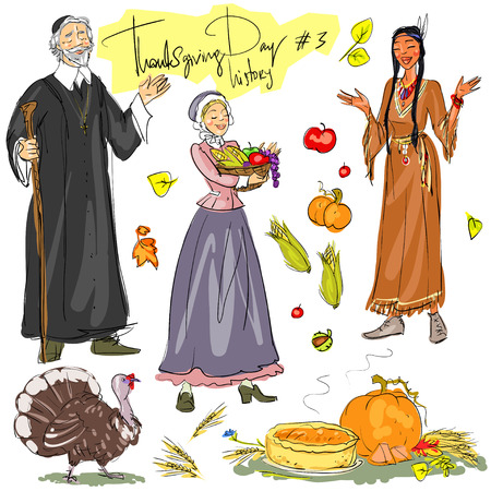 american history: Thanksgiving day hand drawn collection. Historical set 3, isolated
