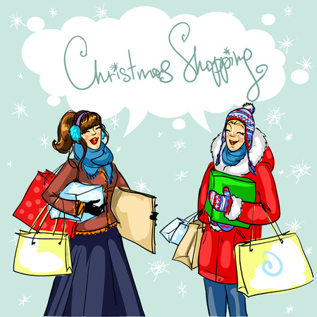 friends laughing: Happy women chatting, Christmas shopping vector illustration Illustration