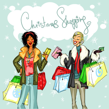 fur coat: Happy women chatting, Christmas shopping vector illustration Illustration