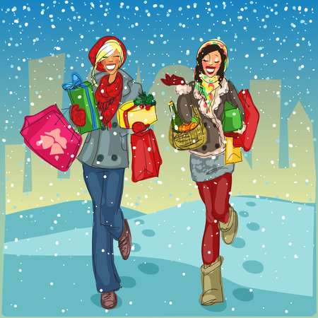 snow covered: Two happy women with shopping bags and present boxes walking down a snow covered street. Illustration
