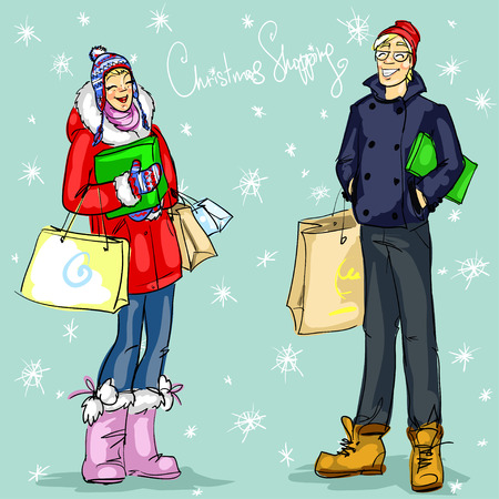 fur coat: People with shopping bags and present boxes, Christmas shopping vector illustration