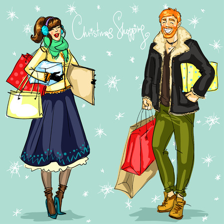 woman fur: People with shopping bags and present boxes, Christmas shopping vector illustration