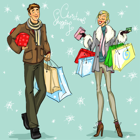 woman in fur coat: People with shopping bags and present boxes, Christmas shopping vector illustration