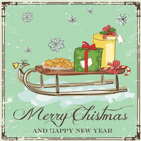 Christmas card design with hand drawn sledge