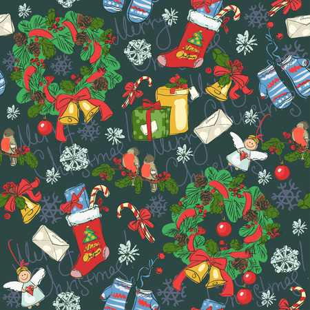 christmas candy: Hand drawn seamless background with Christmas decoration
