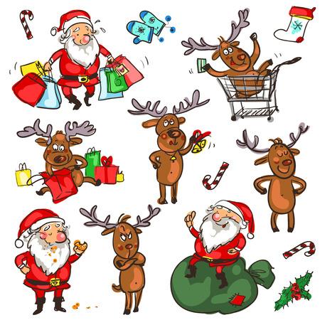 siluetas de animales: Personajes de Navidad, Garabatos de dibujos animados aislado en blanco