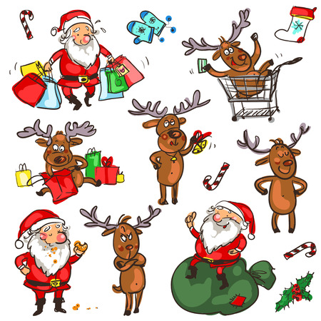 Christmas characters, cartoon doodles isolated on white