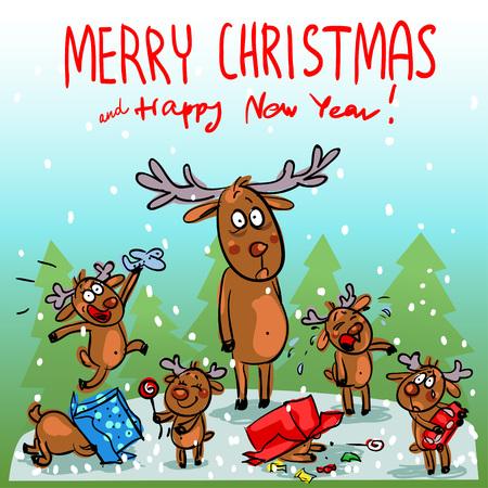 Funny Christmas card with cartoon reindeer family