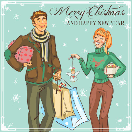 talking: Christmas card design with hand drawn happy couple Illustration