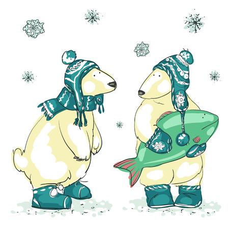 osos navideños: Dibujado a mano de fondo de Navidad con dos osos polares lindo