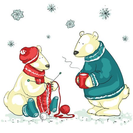 christmas cartoon: Hand drawn Christmas background with two cute polar bears Illustration