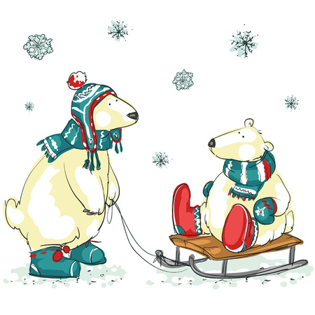 Hand drawn Christmas background with two cute polar bears Illustration