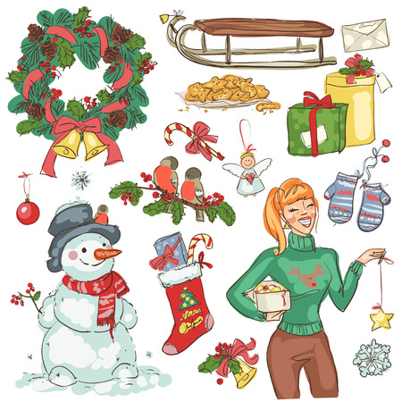 Christmas decoration, hand drawn illustrations isolated on white 矢量图像