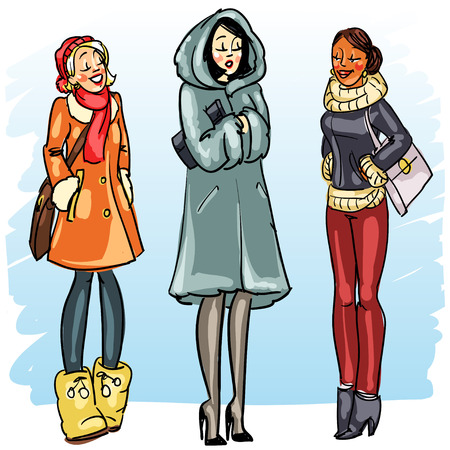 fur: Happy women in winter coats chatting isolated