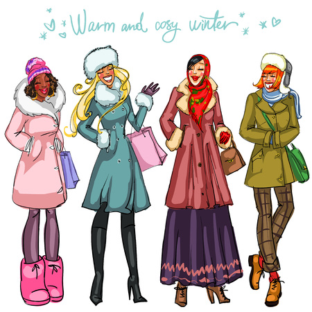 Happy women in winter coats chatting isolated