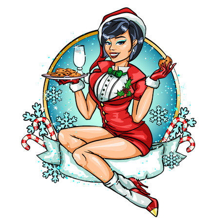pin up: Beautiful Pin Up girl in Santa costume. Greeting card design