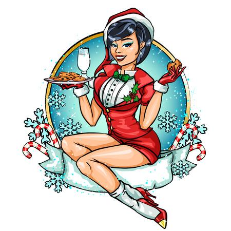 Beautiful Pin Up girl in Santa costume. Greeting card design