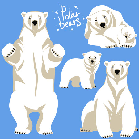 Polar Bears collection. Clip art isolated on blue Ilustracja