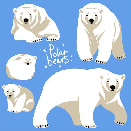 Polar Bears collection. Clip art isolated on blue Illustration