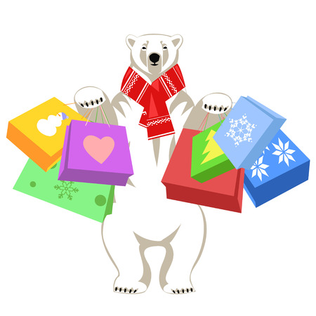 woolly: Greeting Card with Polar bear in red woolly scarf holding shopping bags. Isolated