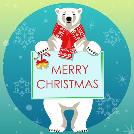 woolly: Greeting Card with Polar bear in red woolly scarf holding border Illustration