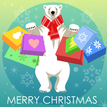 woolly: Greeting Card with Polar bear in red woolly scarf holding shopping bags. Illustration