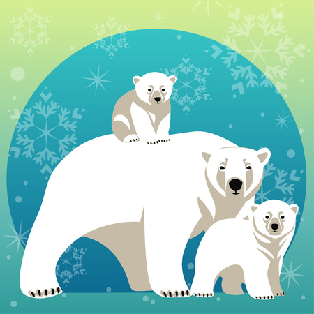 Greeting Card with Polar bear family. Mother bear walking with her cubs
