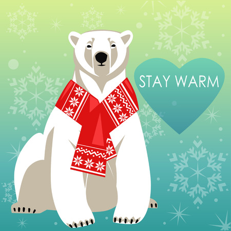 Greeting Card with Polar bear in red woolly scarf