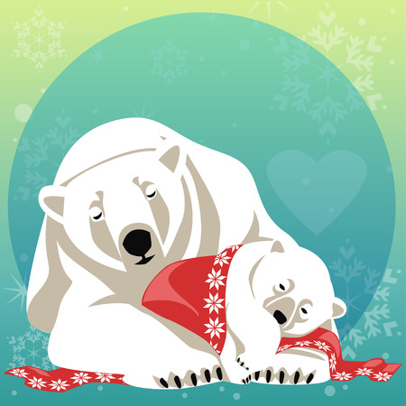 Greeting Card con la famiglia dell'orso polare. Madre bear coccole suoi cuccioli Vettoriali