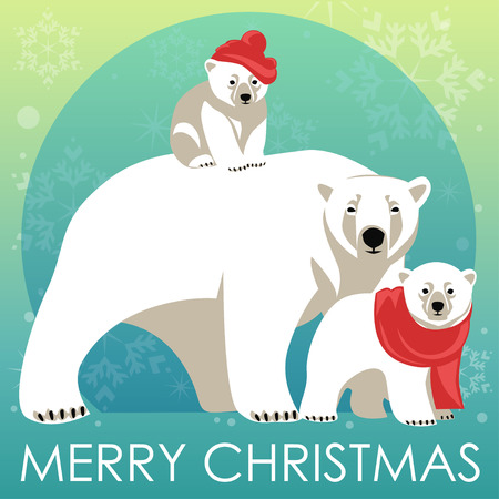 polar: Greeting Card with Polar bear family. Mother bear walking with her cubs