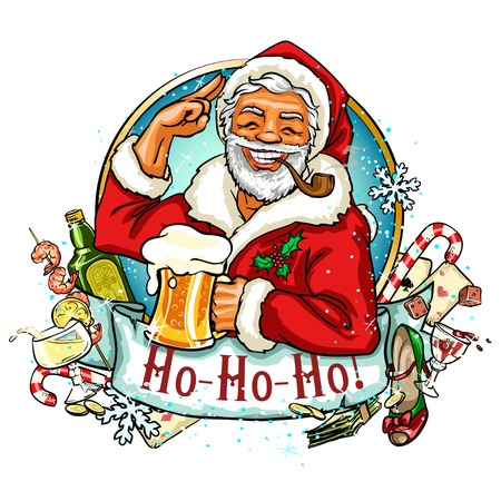 alcoholic: Christmas label with Santa Claus and ribbon banner
